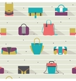 Seamless pattern with fashion bags in various vector image