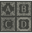 Set of floral and geometric monogram logos vector image