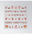 set of pixel christmas symbols vector image