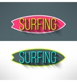 surf typography on surfing board in modern vector image