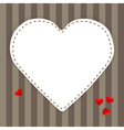 White paper heart on a stripped background vector image