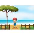Cartoon beachside Boy vector image