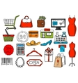 Shopping and retail sketch isolated icons vector image