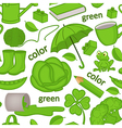 seamless pattern with green objects vector image