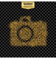 Gold glitter icon of photo camera isolated vector image