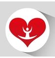athlete silhouette flexible heart beat vector image