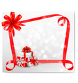christmas card with red gift bows and gift boxes vector image