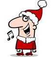 santa singing carol cartoon vector image