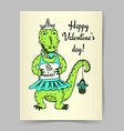 Sketch crocodile girl vector image