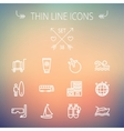 Travel thin line icon set vector image