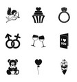 valentine day icons set simple style vector image