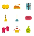 Cleaning icons set flat style vector image