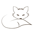 silhouette contour monochrome with fox lying down vector image