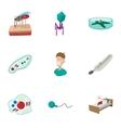 Malaria icons set cartoon style vector image