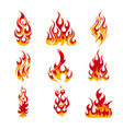 Colorful Fire Flames Set vector image