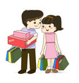 Happy couple with shopping bags in hand vector image