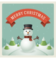 Merry Christmas greeting card with snowman vector image vector image