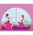 two girls exercising with Pilates fit balls vector image