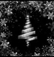 abstract silver ribbon christmas tree vector image