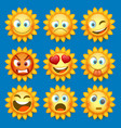 emoji sun and sad icon set vector image