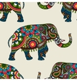 Ethnic indian elephant colored seamless background vector image