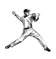hand sketch baseball player vector image