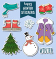 happy winter stickers collection vector image