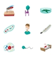 Malaria icons set cartoon style vector image
