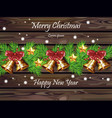 merry christmas wood board with gingle bells vector image