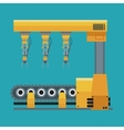 Robotic production line machinery technology vector image