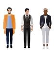 Three men flat style icon people figures vector image