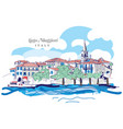 freehand digital drawing of lago maggiore italy vector image vector image