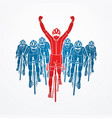 the winner with group of biking sport men team vector image