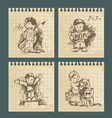 kids - set of vintage drawings vector image vector image