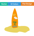 Flat design icon of surfboard vector image