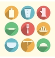 Flat circle icons for kitchenware vector image