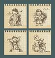 kids - set of vintage drawings vector image