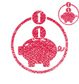 Piggy bank coins cash money savings theme simple vector image