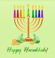 postcard for festival of lights hanukkah vector image