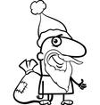 santa with sack coloring page vector image
