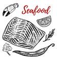 seafood salmon meat lemon spices design elements vector image