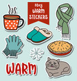 stay warm stickers collection vector image