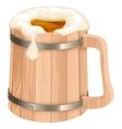 Wooden beer mug Mug of beer foam vector image
