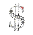 Dollar money with auto parts for car vector image
