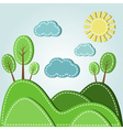 dashed landscape hills with trees and sky vector image vector image
