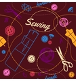seamless pattern with multicolor sewing supplies vector image