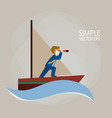 a businessman on a ship is looking for a way vector image