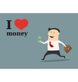 Businessman running with money and briefcase vector image