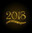 golden particles wave in form of 2018 vector image