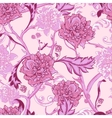 Vintage pink seamless pattern with peony and twigs vector image